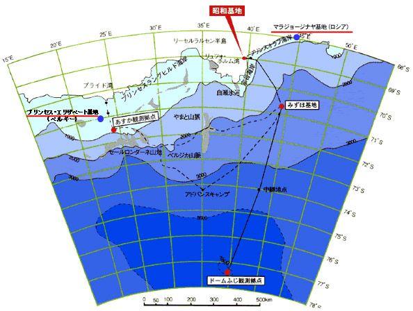 昭和基地と中間拠点の位置