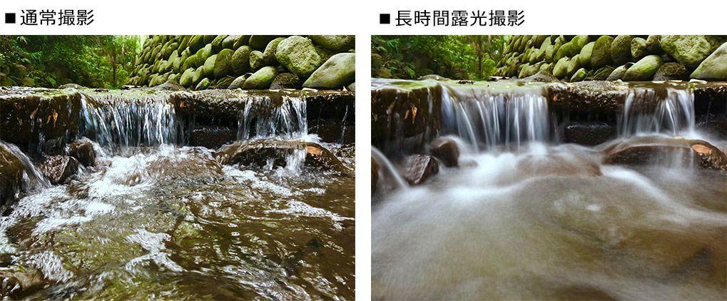 渓流と水の流れを長時間露光で撮影