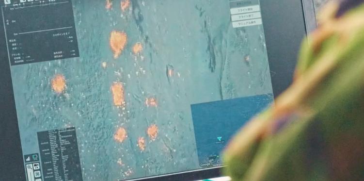 ドローンからの映像のタブレットの画面録画