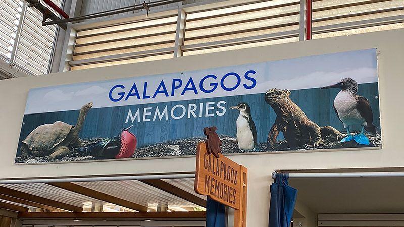 ガラパゴスの空港にある動物の看板