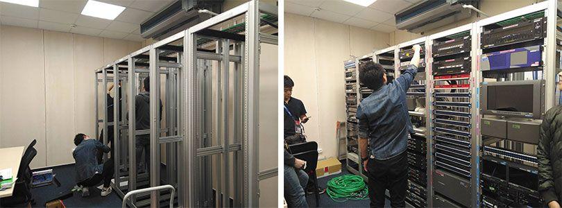 モスクワの「IBC」で機材をセッティングするKDDIのメンバー