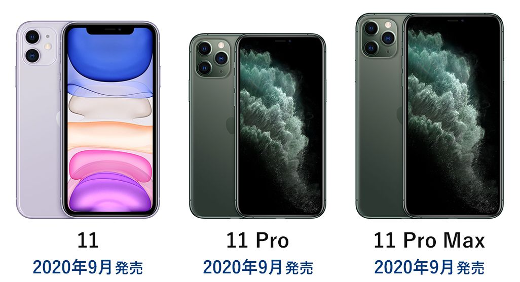 iPhone 11、iPhone 11 Pro、iPhone 11 Pro Max