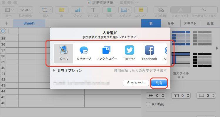 MacでNumbersファイルをiCloud Drive共有