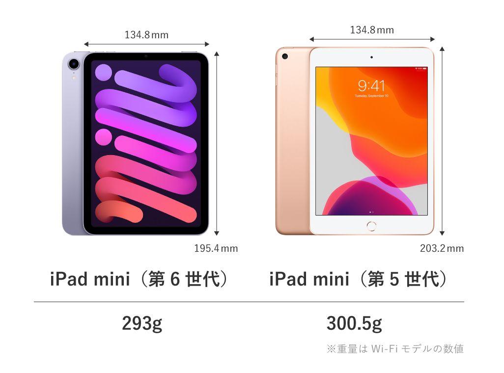 iPad mini(第6世代)のサイズ比較