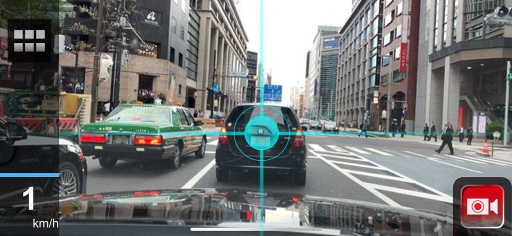 「安全運転サポートアプリ DriveMate SafetyCam(セーフティ カム)」のドライブレコーダー画面