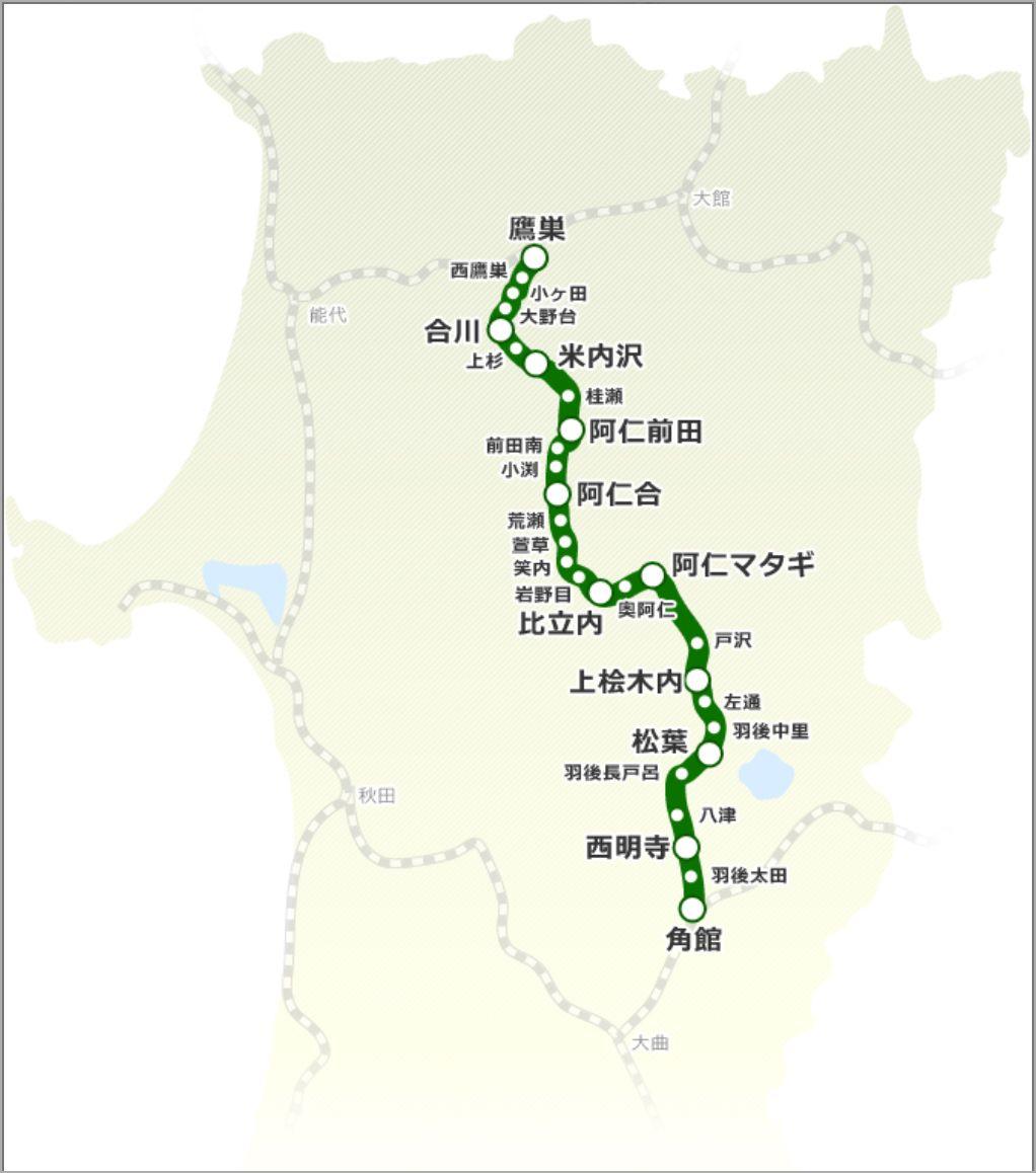 秋田内陸縦貫鉄道の路線図