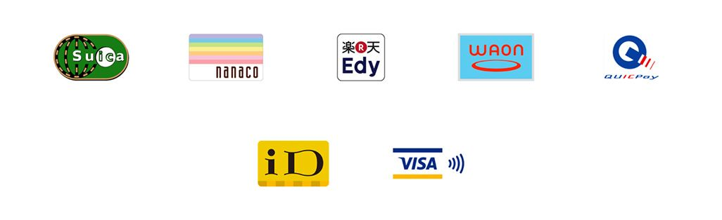 Suica、nanaco、楽天Edy、WAON、QUICKPay、iD、VISAタッチ決済のロゴ