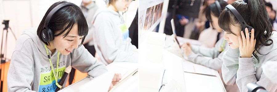 「音のVR」を体験する鍛治島彩さんと吉川茉優さん