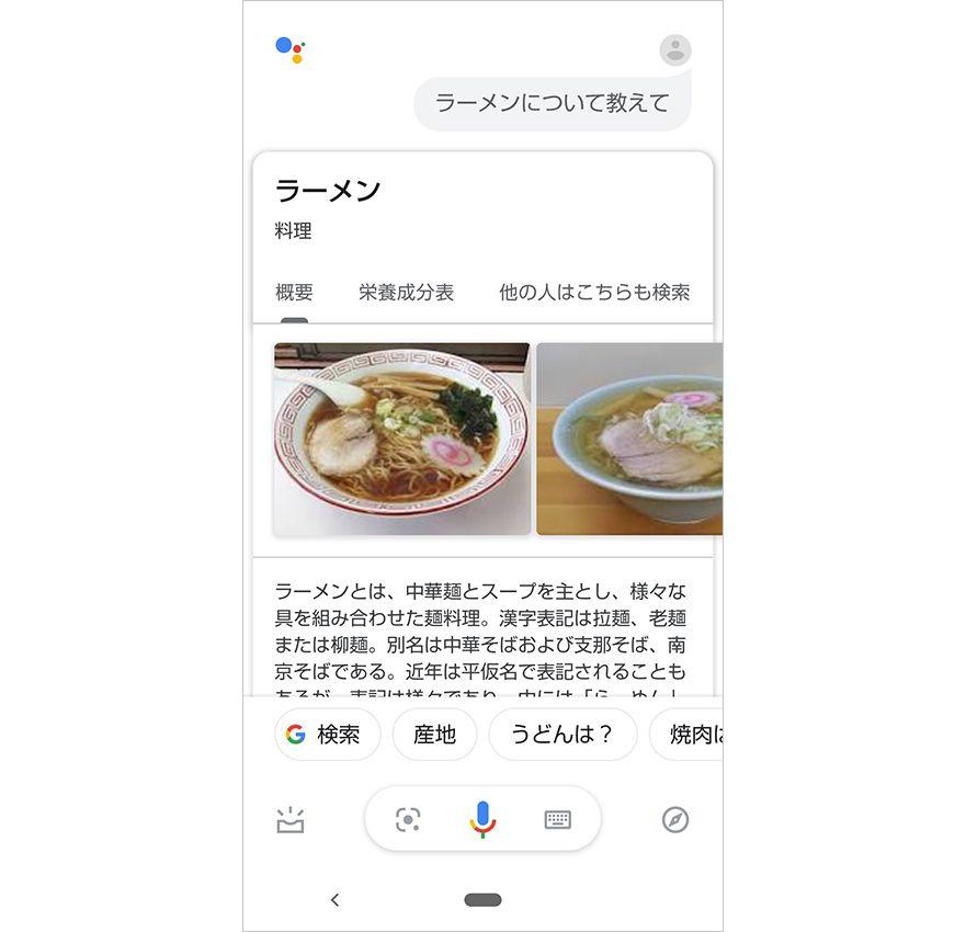 Google アシスタントでの単語の検索
