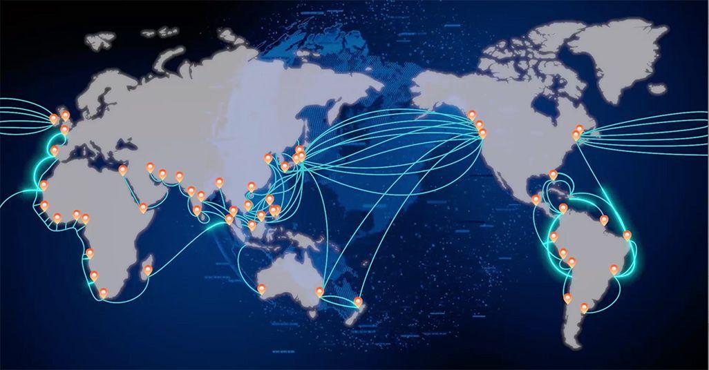 世界中の光海底ケーブルのネットワークイメージ