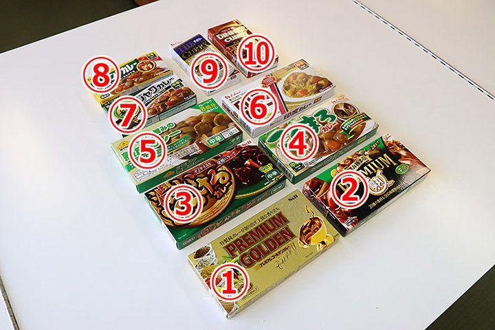 テーブルに10種類並べられたカレールウ