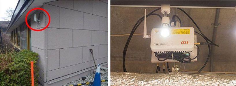 左が電波を取り込むドナーアンテナ。右がドナーアンテナでキャッチした電波を増幅させるレピーター