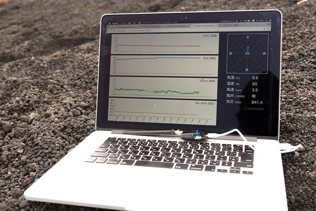 ウェザーニューズの気象観測センサーから送られるデータ