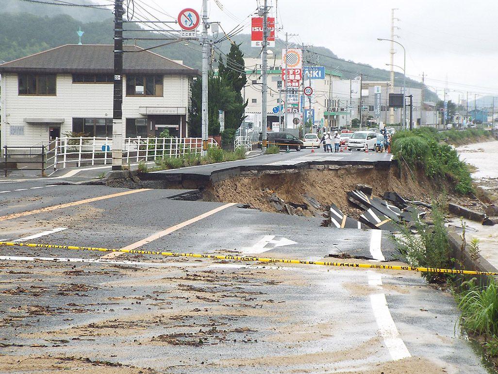 西日本豪雨によって崩落した国道