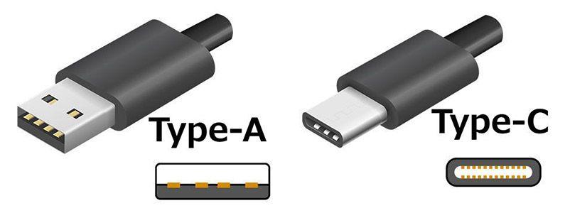 「Type-A」と「Type-C」のコネクタの形状