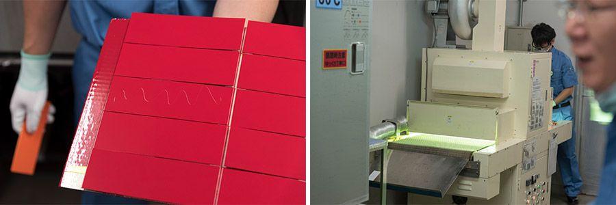 塗料の上からコーティング、紫外線で定着させる作業