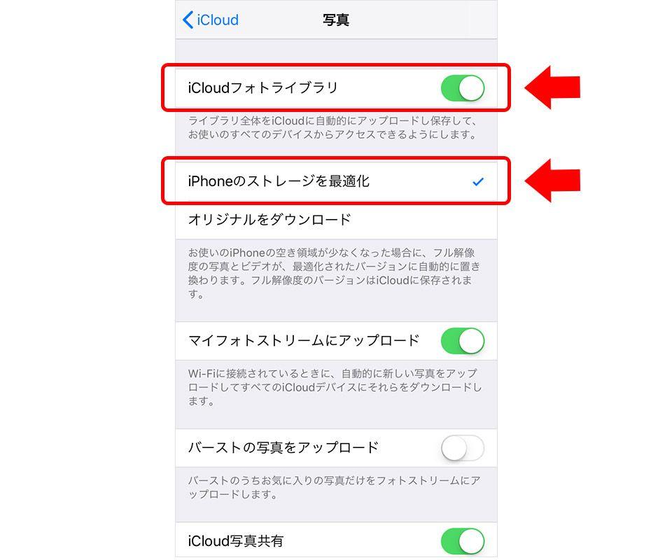 iCloudフォトライブラリ設定画面