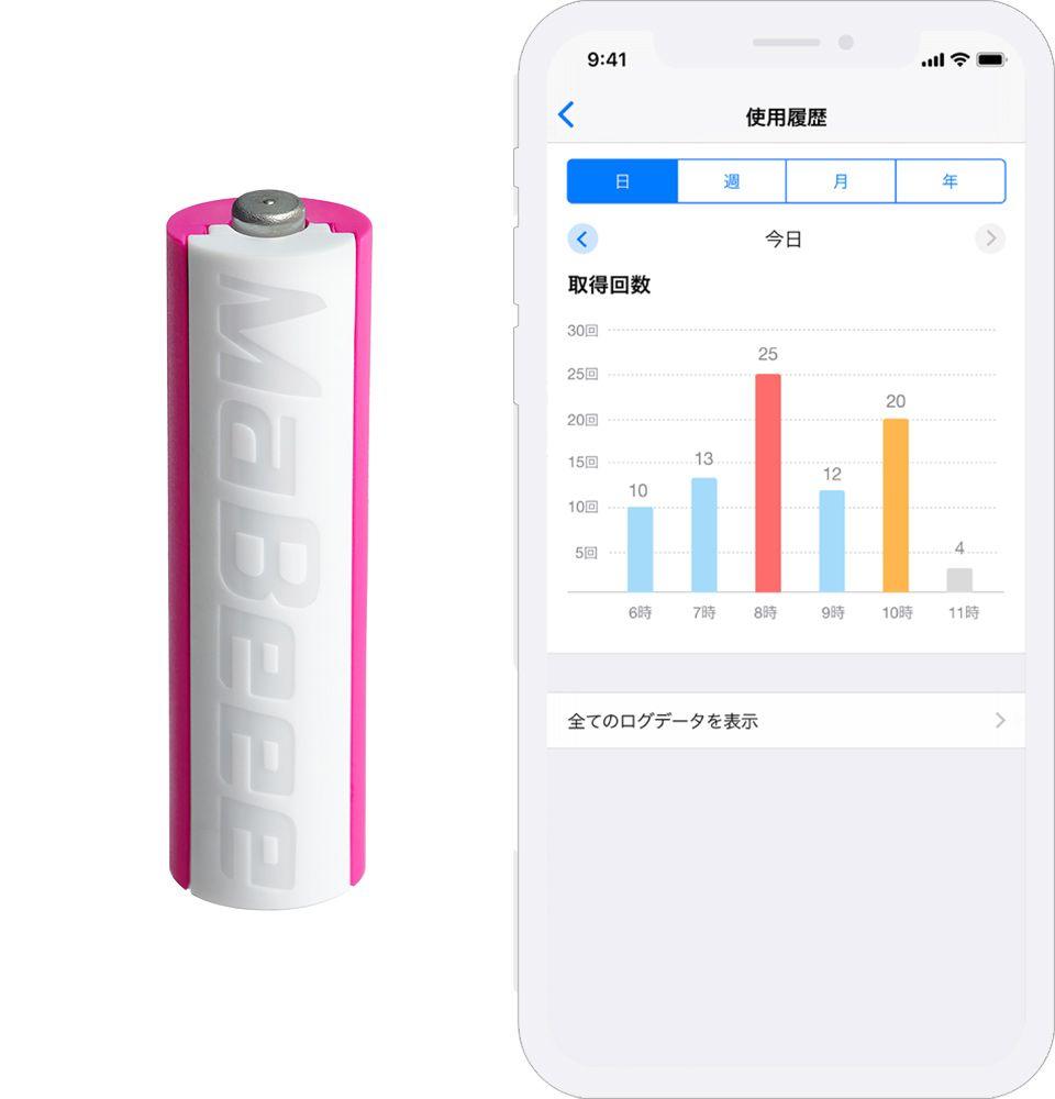 MaBeee「みまもり電池」とデータ画面