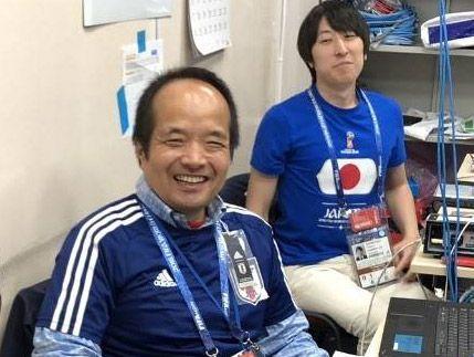 モスクワの「IBC」でのKDDI中継メンバー・辻義人
