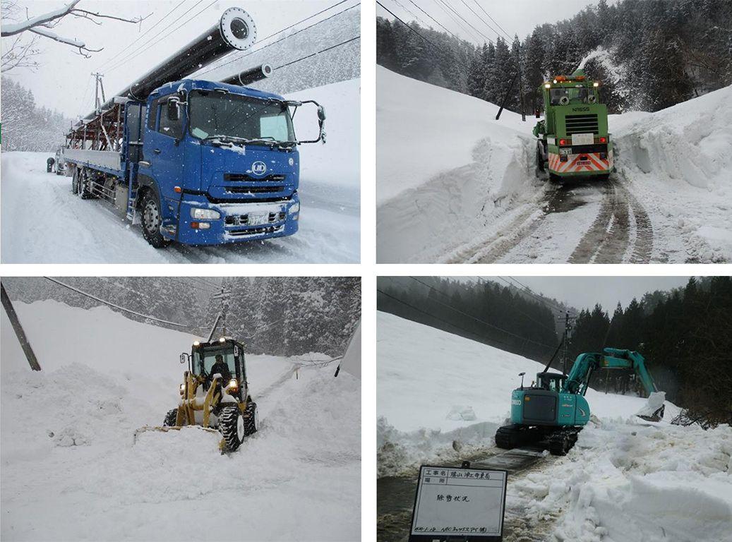 基地局工事を行う除雪車とショベルカー