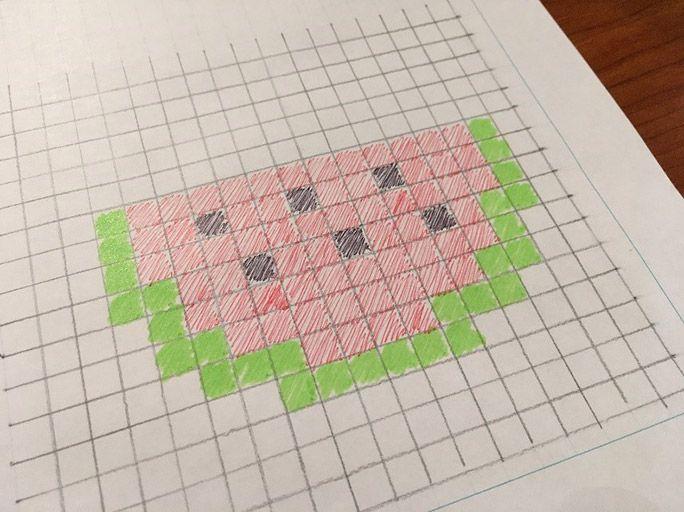 クロスステッチの下絵として方眼紙に描き起こした「スイカ」