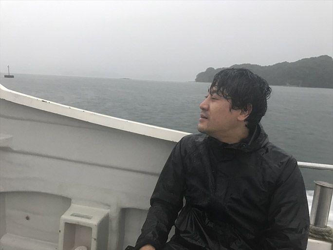 ビショ濡れのまま無人島をあとにするヨッピー