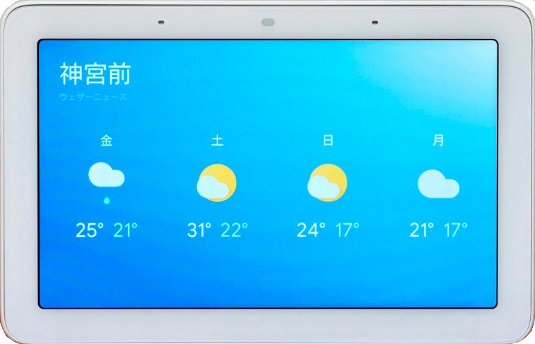 Google Nest Hubに表示された神宮前の天気予報