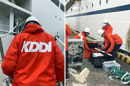 横浜のKDDIオーシャンリンクに物資・可搬型基地局を積み込む作業