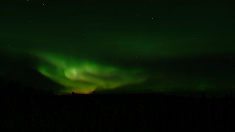 緑色が強いアラスカのオーロラ