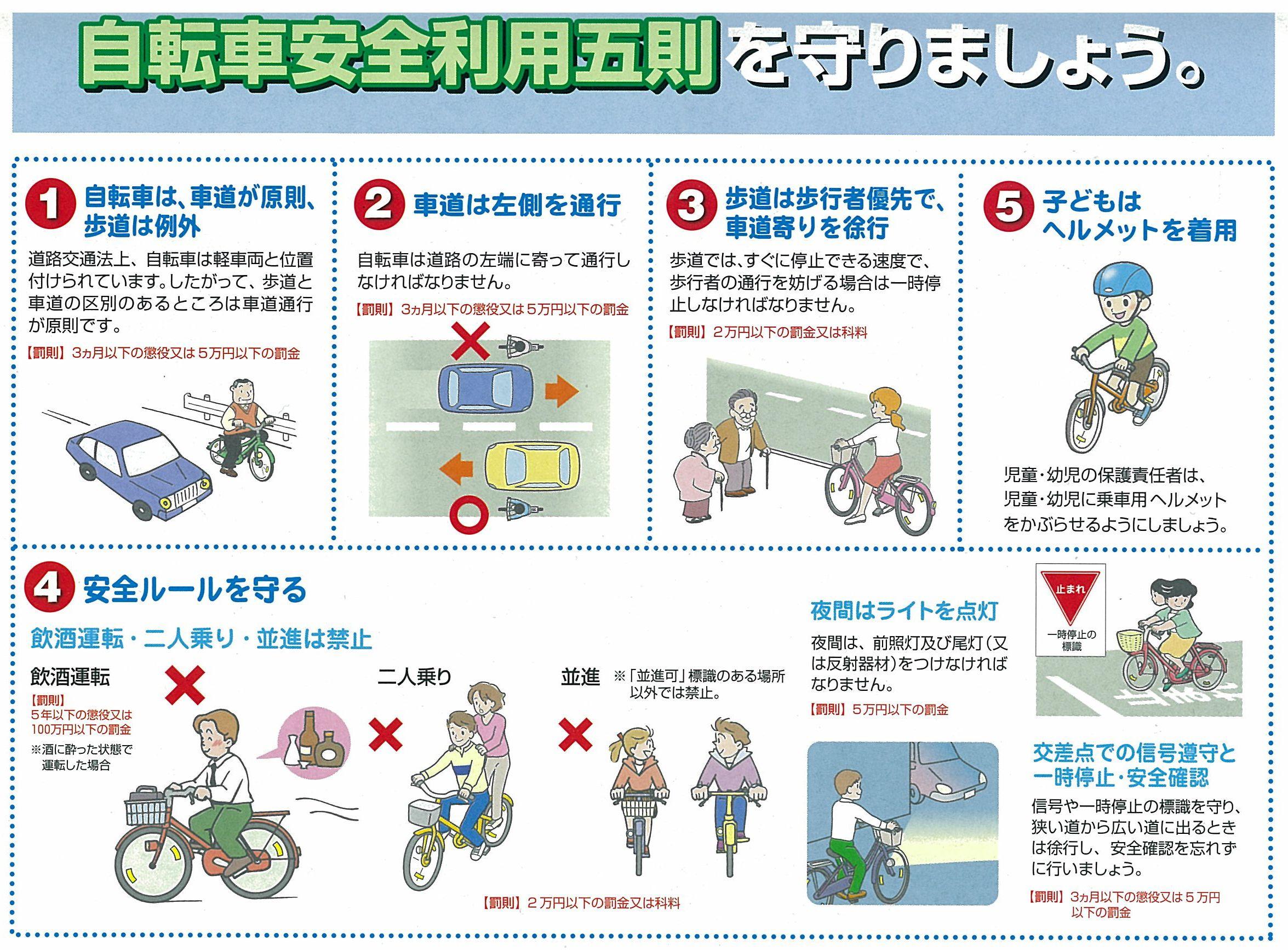 東京都の自転車安全利用五則