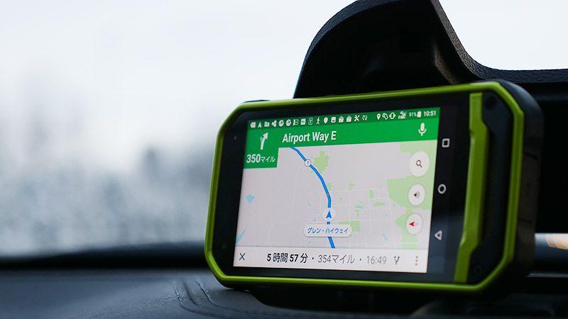 クルマに設置したTORQUE G03に表示されるGoogle マップ