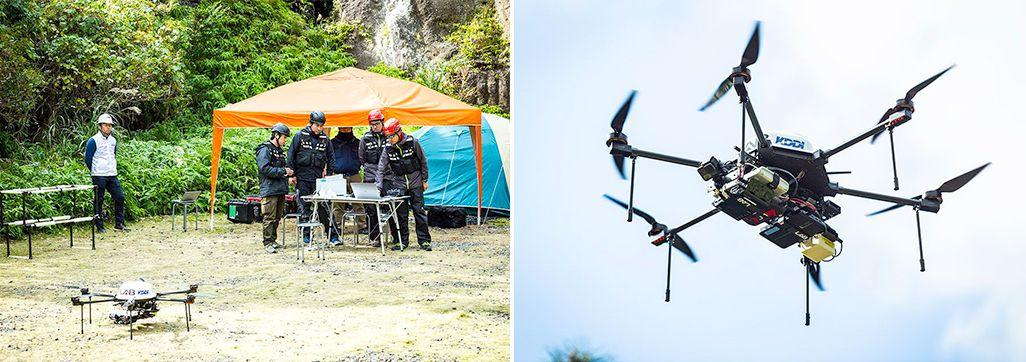 2017年12月に屋久島で行われたドローン基地局の実証実験の模様
