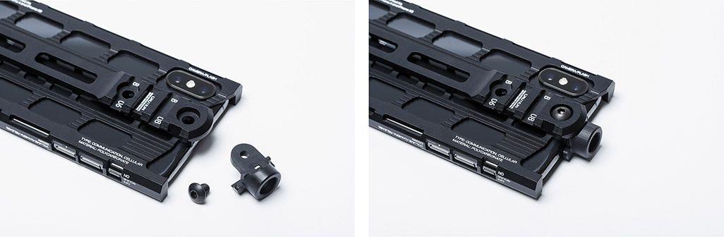 カトキハジメiPhoneケース「RAILcase」QD変換アダプターを装着