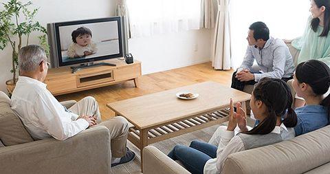 サンワダイレクト「フィルムスキャナー 400-SCN055」を使ってテレビに表示された写真データを眺める家族