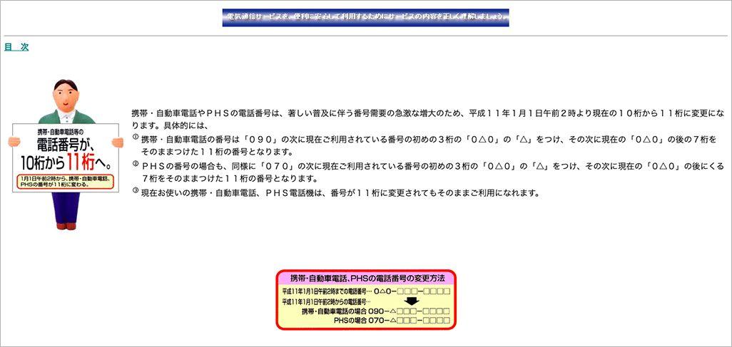 1999年の電話番号11桁化を告知する郵政省(当時)ウェブサイト