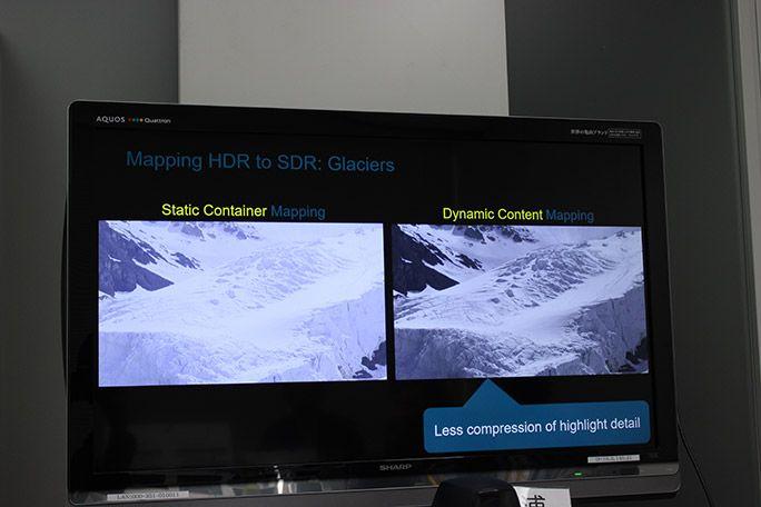 従来の方法でデータをマッピングした画像と、Dolby Visionによってディスプレイに最適化してマッピングされた画像