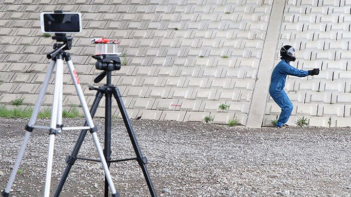 F1ドライバーになりきるトリック動画の撮影方法