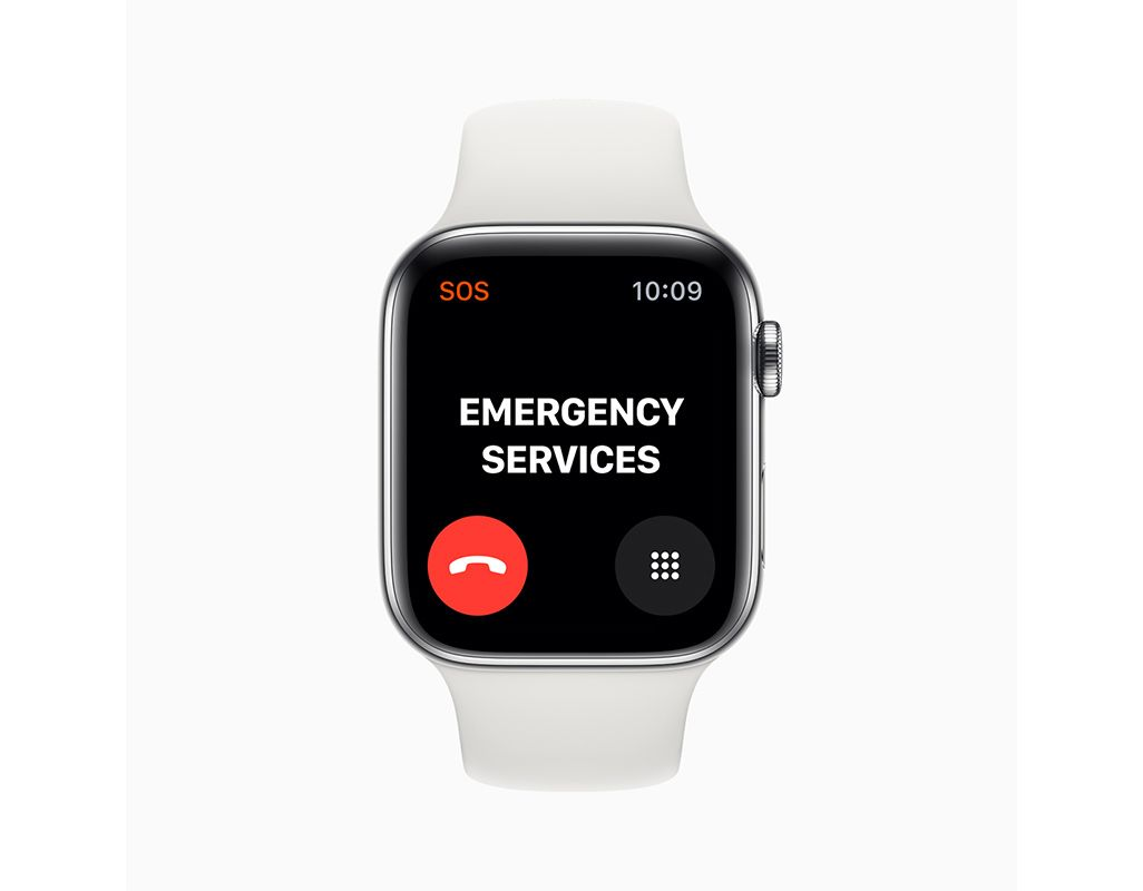 Apple Watch Series 5の緊急通報サービス画面