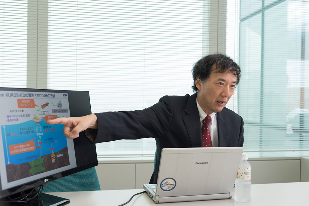 音響通信の仕組みを解説するKDDI総合研究所・小島淳一