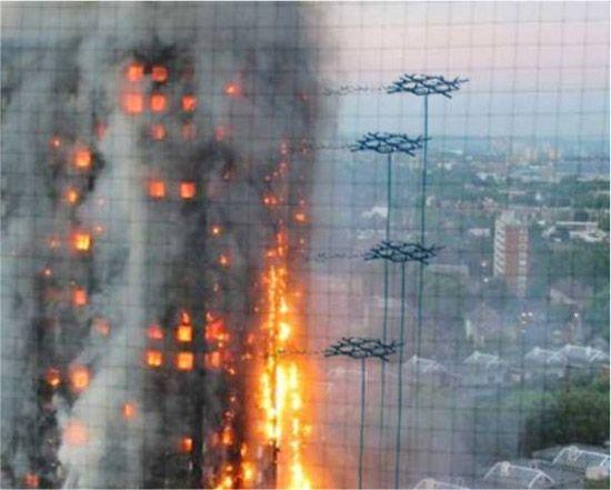 消火活動をする「Aerones」ドローン