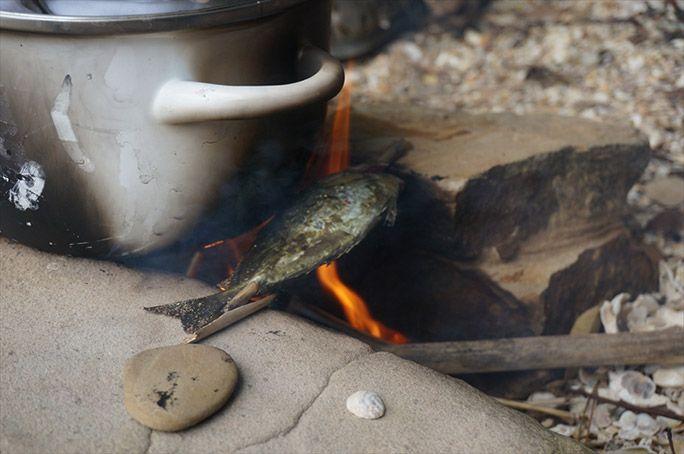 アイゴを調理するヨッピー