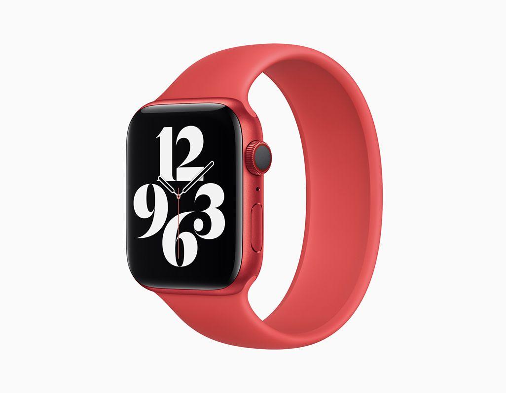 新しい(PRODUCT)RED Apple Watch Series 6と専用のソロループ
