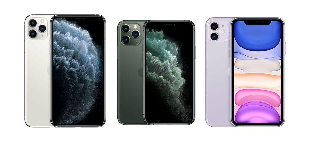 パープルのiPhone 11、ミッドナイトグリーンのiPhone 11 Pro、ホワイトのiPhone 11 Pro Max
