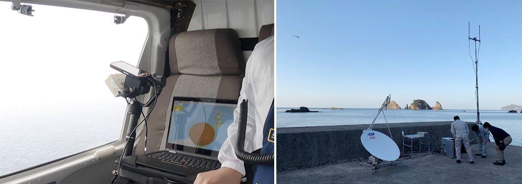 ヘリコプター基地局と地上の可搬型基地局が連携