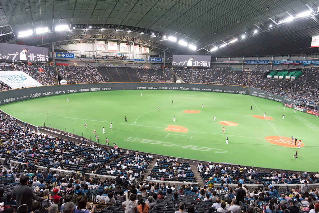 札幌ドームのスタンドより試合を観戦する模様