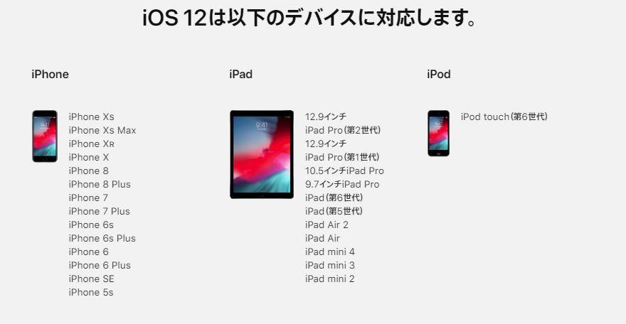 iOS 12対応モデル