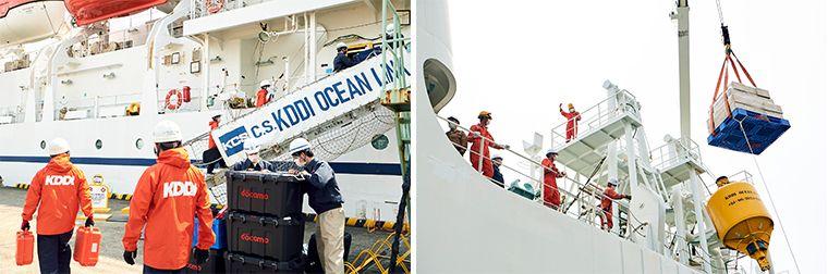 横浜の「KDDIオーシャンリンク」への物資積み込み作業