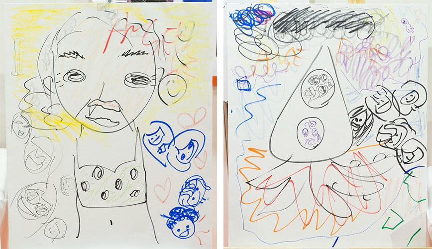 アンジュルムが描いた「和田彩花さんの未来」(左)/アンジュルムが描いた「アンジュルムの未来」(右)