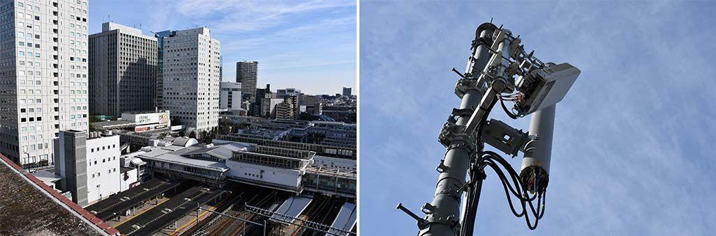 JR大崎駅と周辺に設置されたau 5Gの基地局