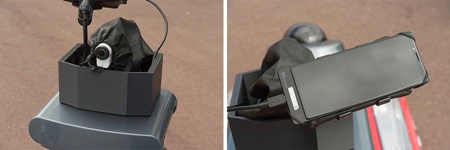 ロボット上部に搭載された5G端末と4 Kカメラ